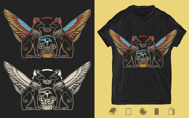 Ancient Egypt. Two winged black cats, sacred eye of god Horus and star gate. Egyptian art. Creative print for dark clothes. T-shirt design. Template for posters, textiles, apparels