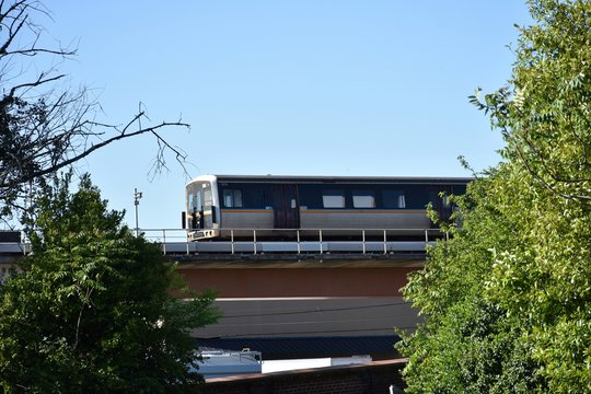 Elevated mass transit train traveling beyond trees on route to downtown