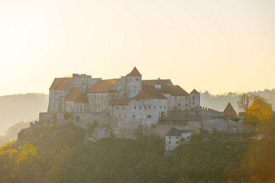 Castle Burghausen at sunset in fall