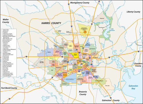 vector neighborhood map of the Texas city of Houston, United States