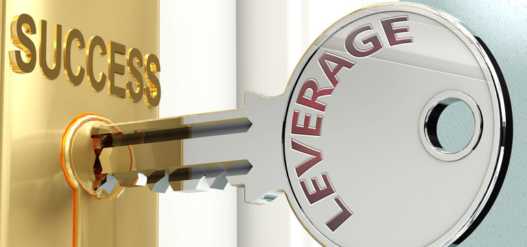 Leverage and success - pictured as word Leverage on a key, to symbolize that Leverage helps achieving success and prosperity in life and business, 3d illustration