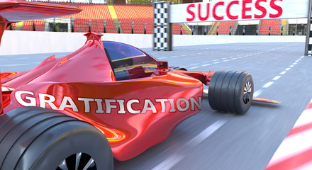 Self adhesive Wall Murals F1 Gratification and success - pictured as word Gratification and a f1 car, to symbolize that Gratification can help achieving success and prosperity in life and business, 3d illustration