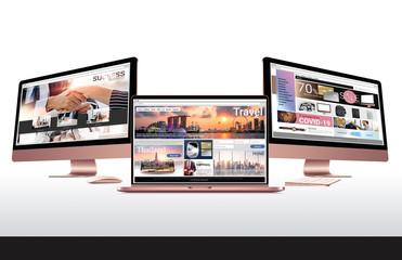 website and desktop computer 3d illustration