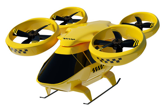 Yellow flying taxi isolated on white background, city electric transport drone. Car with propellers, clean air, fast ride. 3D illustration, 3D rendering, copy space.