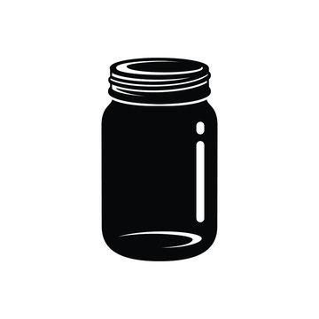 Mason jar silhouette icon vector art design illustration