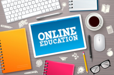 Online education elearning vector banner. Elearning online education text in tablet's screen with school elements and internet devices for home learning. Vector illustration.