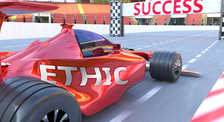 Papiers peints F1 Ethic and success - pictured as word Ethic and a f1 car, to symbolize that Ethic can help achieving success and prosperity in life and business, 3d illustration