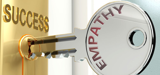 Empathy and success - pictured as word Empathy on a key, to symbolize that Empathy helps achieving success and prosperity in life and business, 3d illustration