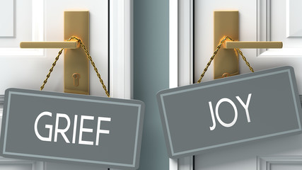 joy or grief as a choice in life - pictured as words grief, joy on doors to show that grief and joy are different options to choose from, 3d illustration