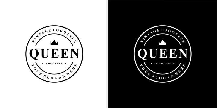 Queen Vintage logotype stamp emblem logo design