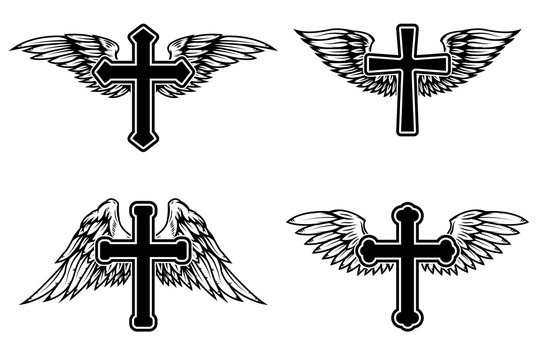 Set of illustrations of winged christian religious crosses. Design element for infographic, emblem, sign, poster, car, banner. Vector illustration