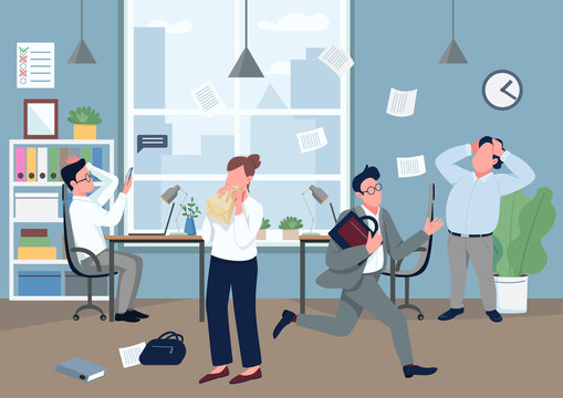 Panic in office flat color vector illustration. Company employee with panic attack 2D cartoon character with stressed coworkers on background. Stressful situation, mass hysteria. Business crisis