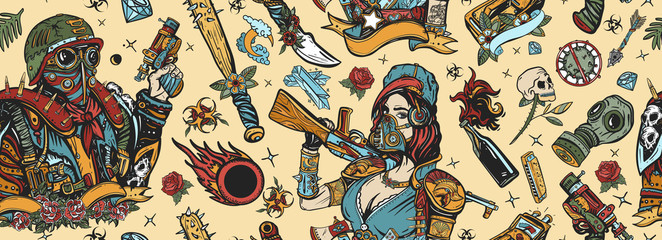 Post apocalypse seamless pattern. People, weapon of dark future. Nuclear war background. Old school tattoo style. Doomsday girl and gun, end of world. Post apocalyptic man warrior, soldier woman
