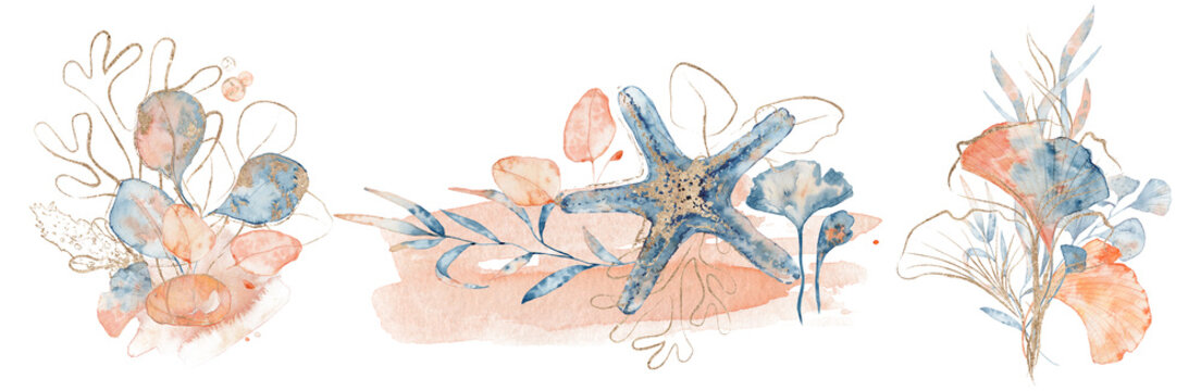 Watercolor underwater floral bouquet with corals and starfish, hand drawn illustration