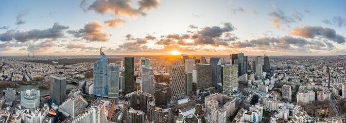 Keuken foto achterwand Panoramafoto s Aerial panoramic drone shot of La Defense skycraper in Paris CBD skyscraper complex business district with clouds during sunset