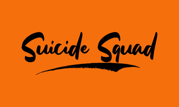 Suicide Squad Calligraphy Black Color Text On Yellow Background