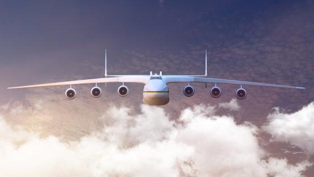 Aircraft AN-225. 3D render. Illustration.