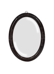Vertical shot of a black vintage mirror frame under the lights isolated on a white background