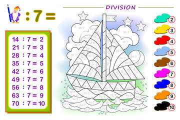 Exercise for kids with division by number 7. Paint the sailboat. Educational page for mathematics baby book. Printable worksheet for children textbook. Back to school. IQ test. Vector illustration.