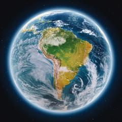 Fototapete - Planet Earth globe at night