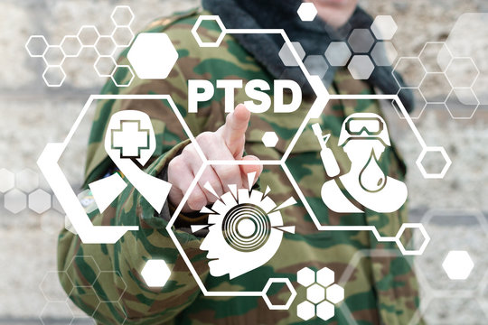 PTSD Mental Health Soldier Concept. Military Post Traumatic Stress Disorder Soldiers Disease Treatment.
