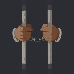 Arms of male prisoner in handcuffs holding jail bars vector graphic illustration. Cartoon hands of criminal person serve sentence in prison isolated on black background. Arrested guilty man