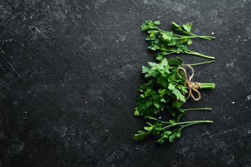 Wall Mural - Fresh green parsley on black stone background. Top view. Free space for your text.
