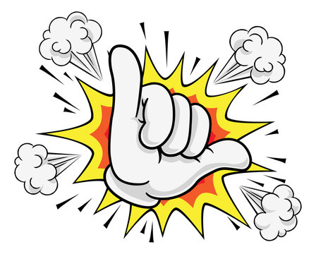 A shaka hang loose surf or gamer skilled hand gesture sign cartoon symbol icon