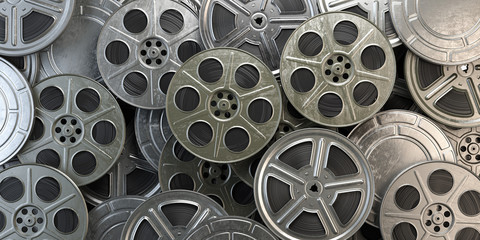 Film reels and cans. Video, movie, cinema concept.