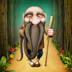 Fantasy fairy tale illustration with Old man Troll with long beard in the forest