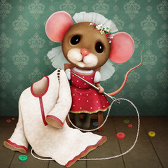 Fantasy opowieść ludowa ilustracja o zręcznej narzeczonej myszy