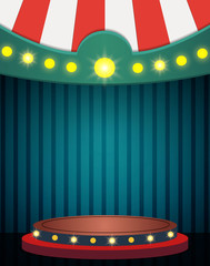 Grunge blue background with vintage circus tent. Design for presentation, concert, show