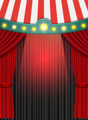 Background with red curtain and circus tent. Design for presentation, concert, show
