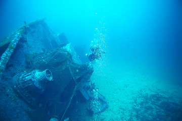 Foto auf Gartenposter Schiffbruch shipwreck diving landscape under water, old ship at the bottom, treasure hunt