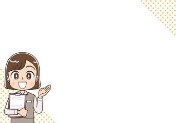 受付 制服 スタッフ 医療事務 銀行員 お知らせ イラスト