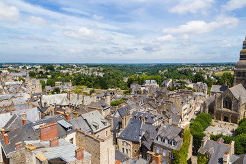Dinan, France. Beautiful aerial view of the historic city center