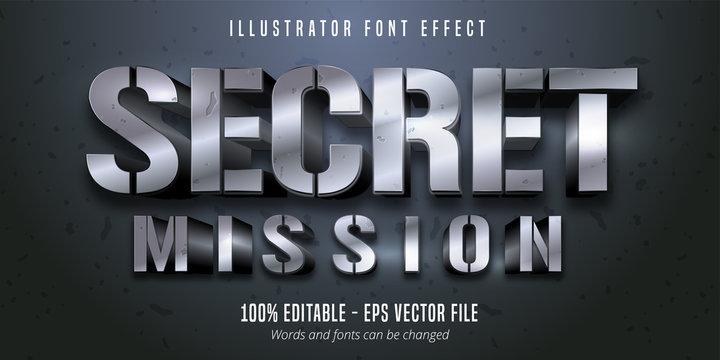 Secret Mission text, 3d silver metallic style editable font effect