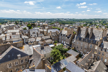 Dinan, France. Scenic aerial view of the old city