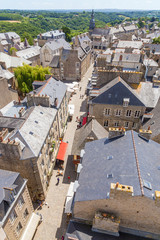 Dinan, France. Aerial view of l'Horloge street in the old town