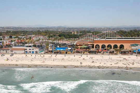 Aerial of Belmont Park Mission Beach San Diego, CA