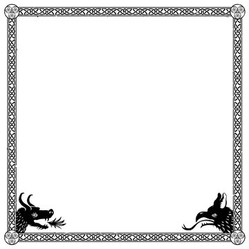 Square medieval frame with Viking or Celtic knots and dragons in the corners. Can represent the Middle Ages, a fantasy tale, a role-playing game, an ancient manuscript, heraldry, etc.