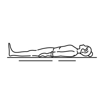 Corpse Pose Savasana black line icon. Asana in hatha yoga. Pictogram for web page, mobile app, promo. UI UX GUI design element. Editable stroke