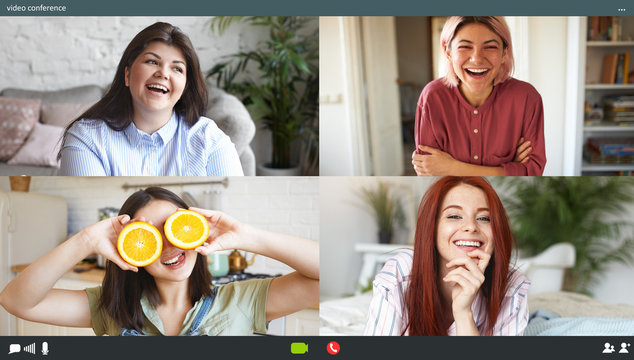 Four best women friends enjoying video conference call using application on computers, sitting at home, social distancing. Collage screen shots of young females talking and having fun via virtual chat