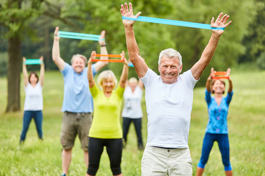 Seniors exercise fitness with stretch band