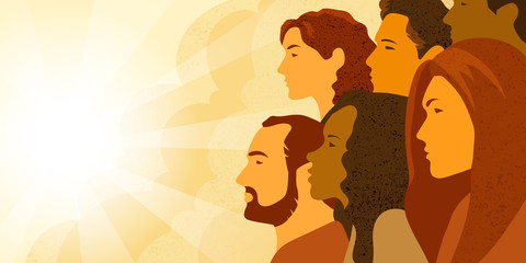 Vector illustration of multinational group of people - men and women looking into the distance. Concept of hope, concern about changing of the climate and planning of future. Fotomurales