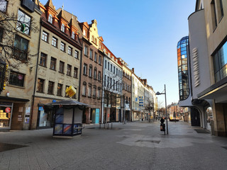 Shopping street Breite Gasse / Ludwigsplatz, Nuremberg in Germany
