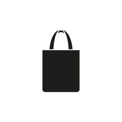 Shopping bag icon. Reusable shopping tote bag. Vector. Flat design.