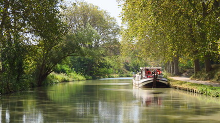 Tourisme fluvial, péniche amarrée sur le Canal du Midi bordé d'arbres en été (France)