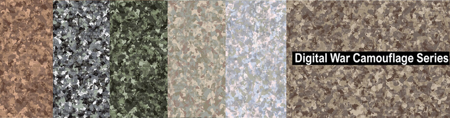 Digital War Camouflage Series, Highly sophisticated camouflage pattern to destroy visibility from digital devices, Strategy for hiding and disguising from detection.