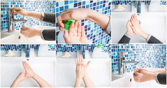 Child washing hands steps protective measures against coronavirus germ and bacteria spreading